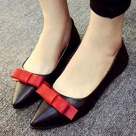 尖頭鞋 明星同款優雅蝴蝶結尖頭平底鞋【S1534】☆雙兒網☆ 2
