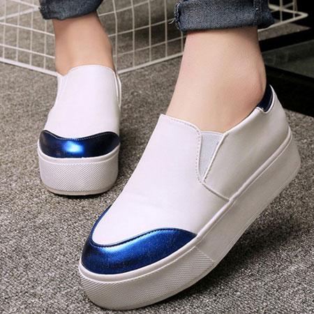 懶人鞋 韓版金屬拚色圓頭厚底休閒鞋【S1538】☆雙兒網☆ 1