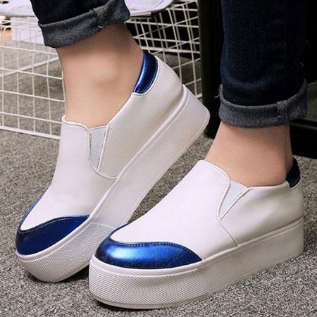 懶人鞋 韓版金屬拚色圓頭厚底休閒鞋【S1538】☆雙兒網☆ 0