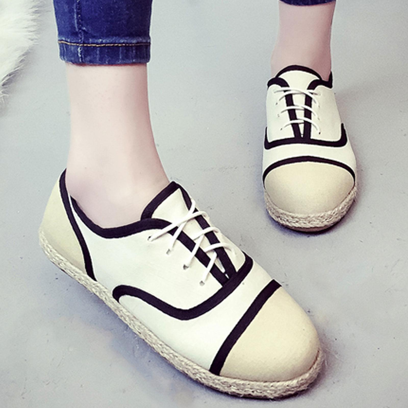 休閒鞋 歐美復古雙色線條草編平底鞋【S1549】☆雙兒網☆ 2