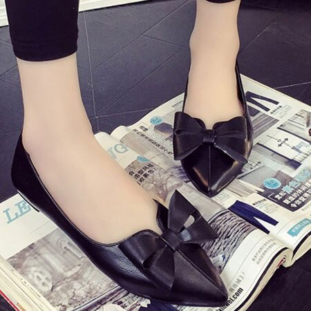 尖頭鞋 歐美復古蝴蝶結尖頭平底鞋【S1560】☆雙兒網☆ 1