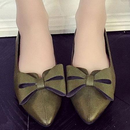 尖頭鞋 歐美復古蝴蝶結尖頭平底鞋【S1560】☆雙兒網☆ 0