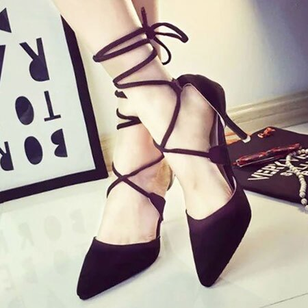 高跟鞋 歐美性感交叉綁帶尖頭高跟鞋【S1569】☆雙兒網☆ 2