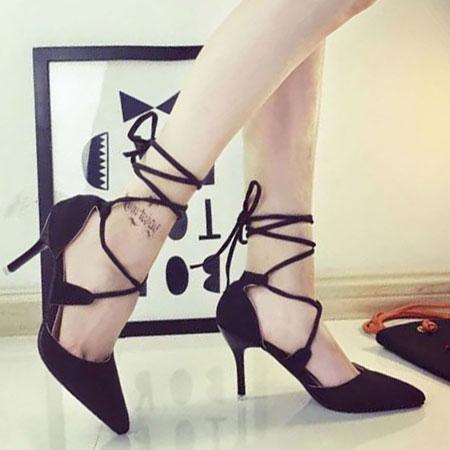 高跟鞋 歐美性感交叉綁帶尖頭高跟鞋【S1569】☆雙兒網☆ 1