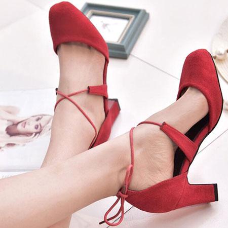高跟鞋 甜美性感綁帶圓頭粗高跟鞋【S1574】☆雙兒網☆ 2