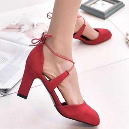 高跟鞋 甜美性感綁帶圓頭粗高跟鞋【S1574】☆雙兒網☆ 1