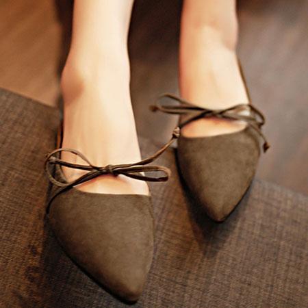 拖鞋 隨興蝴蝶結綁帶尖頭懶人鞋【S1579】☆雙兒網☆ 3