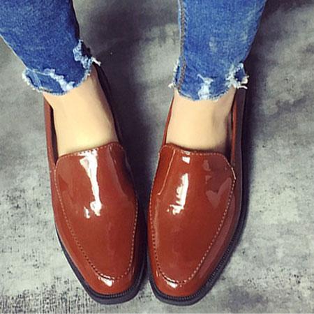 樂福鞋 帥氣中性風漆皮平底休閒鞋~S1581~~雙兒網~ ~  好康折扣