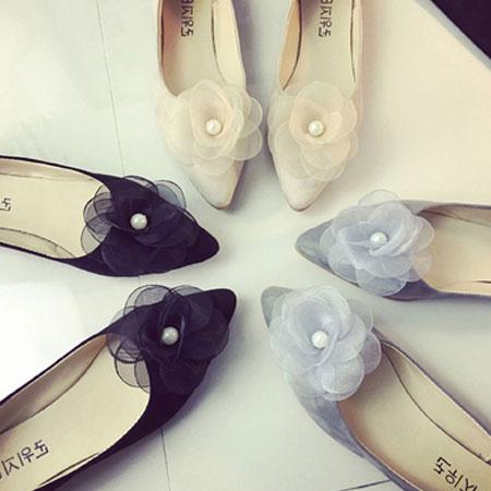 尖頭鞋 浪漫珍珠花朵尖頭平底包鞋【S1583】☆雙兒網☆ 1