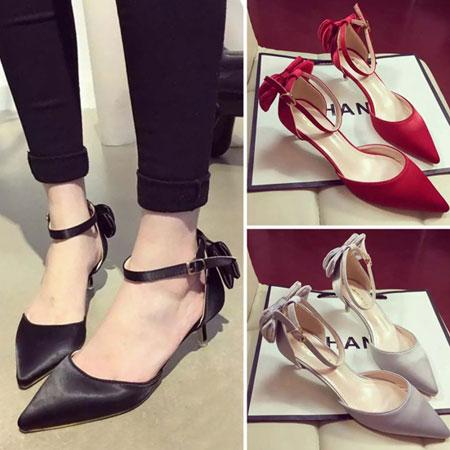 高跟鞋 優雅LADY緞面蝴蝶結尖頭跟鞋【S1589】☆雙兒網☆ 2
