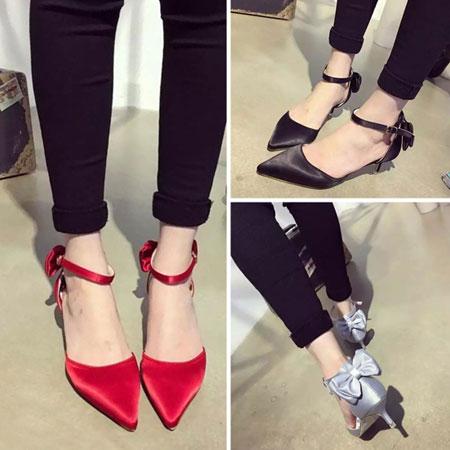 高跟鞋 優雅LADY緞面蝴蝶結尖頭跟鞋【S1589】☆雙兒網☆ 1