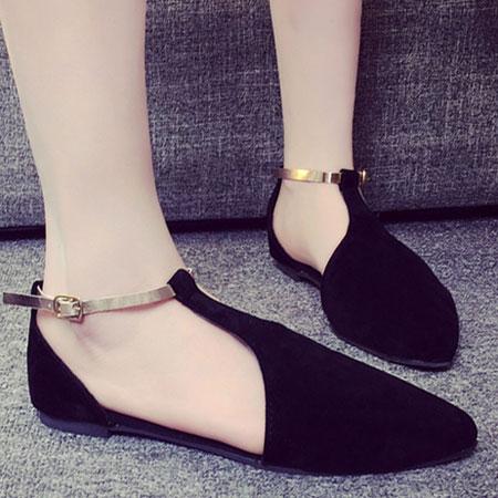 涼鞋 甜美側簍空金屬繫帶平底涼鞋【S1603】☆雙兒網☆ 1