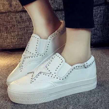 懶人鞋 明星同款星星鉚釘皮革厚底鞋【S1630】☆雙兒網☆ 1