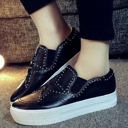 懶人鞋 明星同款星星鉚釘皮革厚底鞋【S1630】☆雙兒網☆ 2