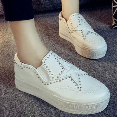 懶人鞋 明星同款星星鉚釘皮革厚底鞋【S1630】☆雙兒網☆ 0