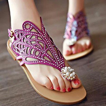 涼鞋 歐美璀璨寶石編織平底夾腳涼鞋【S1631】☆雙兒網☆