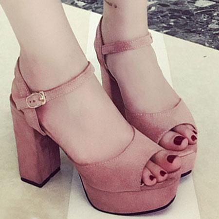 涼鞋 質感磨砂繫帶厚底粗高跟涼鞋【S1640】☆雙兒網☆ 1