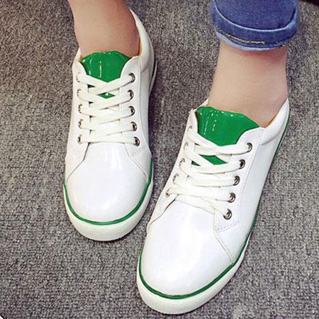 休閒鞋 經典配色皮革運動風小白鞋【S1646】☆雙兒網☆ 1