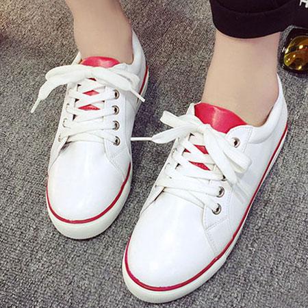 休閒鞋 經典配色皮革運動風小白鞋【S1646】☆雙兒網☆ 0