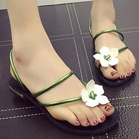 拖鞋 甜美花朵漆皮羅馬夾腳拖鞋【S1651】☆雙兒網☆ 0