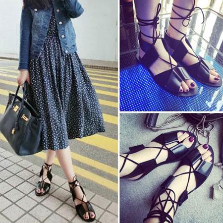 涼鞋 歐美個性皮革綁帶羅馬涼鞋【S1656】☆雙兒網☆ 1