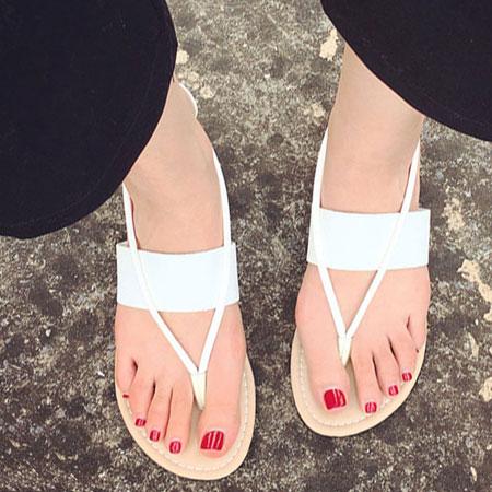 拖鞋 時尚素色皮革夾腳平底涼鞋【S1669】☆雙兒網☆ 1