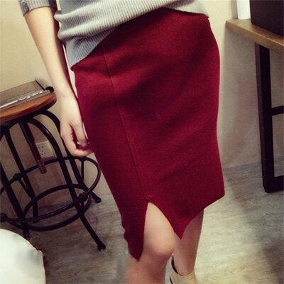 時尚性感前開衩針織短裙【D2704】☆雙兒網☆ 0