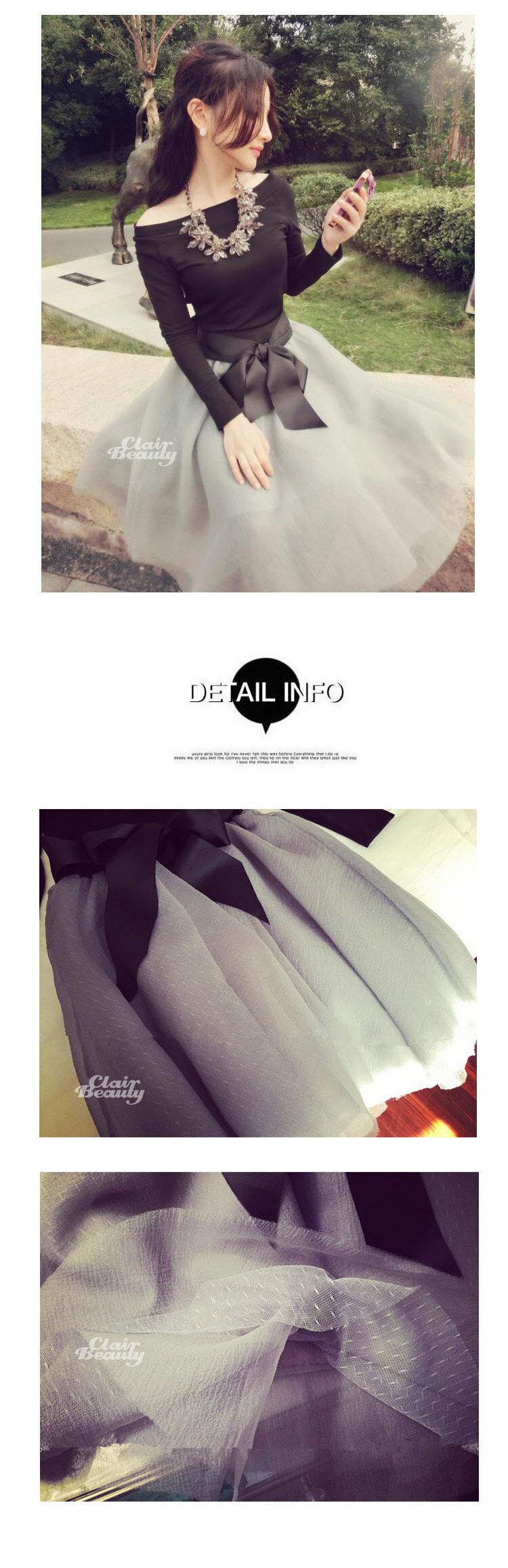 小香風典雅長袖兩件式蝴蝶結多層澎澎紗裙【D2795】☆雙兒網☆ 1