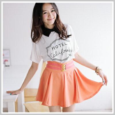 ☆雙兒網☆ Sunshine.現貨+預購【D557】韓版腰間金扣裝飾裙擺打折顯瘦短裙-2色 0