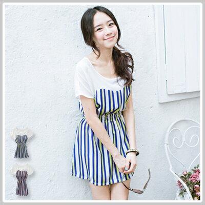☆雙兒網☆ Fairy garden【D869】韓版個性時尚彈性縮腰顯瘦直條紋洋裝
