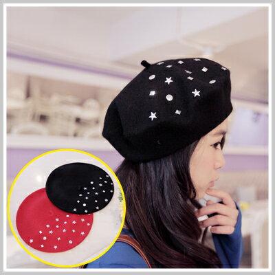 ☆雙兒網☆ Kitty girl 【o1149】韓版立體星星鉚釘素色毛尼畫家帽貝蕾帽