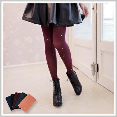 ☆雙兒網☆ Kitty girl 【o1151】韓版立體金色星星鉚釘飽和素色褲襪 - 限時優惠好康折扣