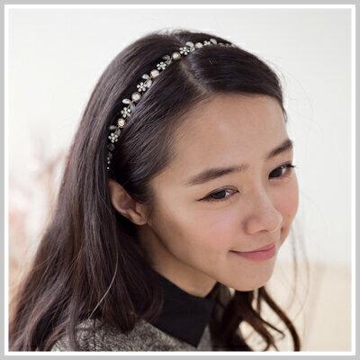 ☆雙兒網☆Lazy or pretty 【o2071】優雅女伶華麗水鑽小花朵樹葉造型髮帶 0