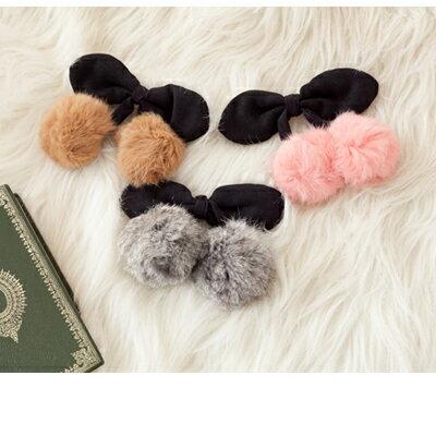 ☆雙兒網☆Lazy or pretty 【o2075】ViVi雜誌Lena用櫻桃兔毛球球髮夾彈簧夾 0