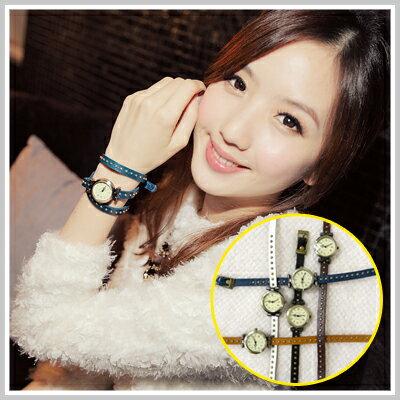 ☆雙兒網☆ Party two 【o2126】韓國復古鉚釘纏繞式手鍊款皮革手錶 0