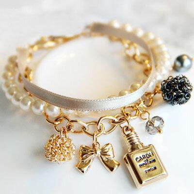 ☆雙兒網☆COCO香水緞帶珍珠手鍊【O2476】 0