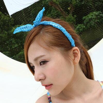 韓網紗小格紋兔耳朵軟鐵絲髮箍【O2637】☆雙兒網☆ 1