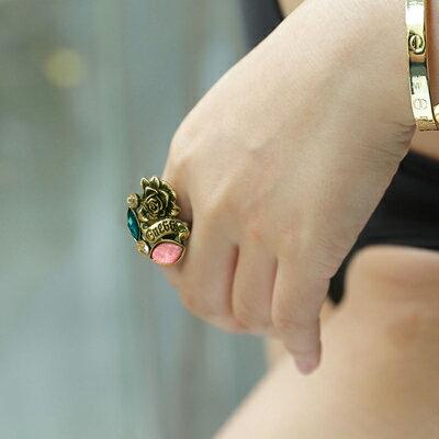 復古玫瑰花寶石戒指【O2653】☆雙兒網☆ - 限時優惠好康折扣