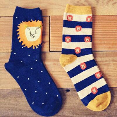 襪子 森林之王獅子卡通圖案短襪(一雙入)隨機出貨【O2769】☆雙兒網☆ 0