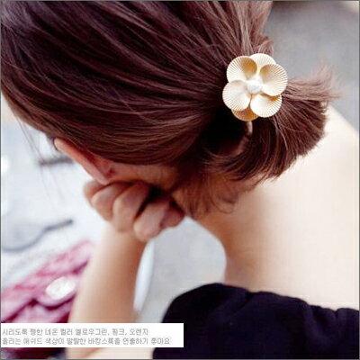 ☆雙兒網☆ 綺麗時分 【o979】韓甜美法式女孩珍珠金屬花瓣花朵髮圈 - 限時優惠好康折扣