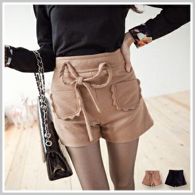 ☆雙兒網☆簡約輕柔 【p2039】韓版腰間可拆式蝴蝶結前口袋毛尼短褲 0