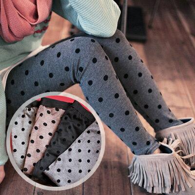 ☆雙兒網☆【P269】歐美時尚圓點絨質褲頭鬆緊式內搭褲-共四色 0