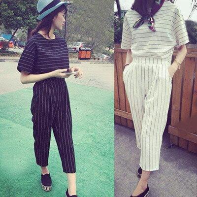兩件式 韓版時尚休閒條紋短版2件式套裝【P2837】☆雙兒網☆ 0
