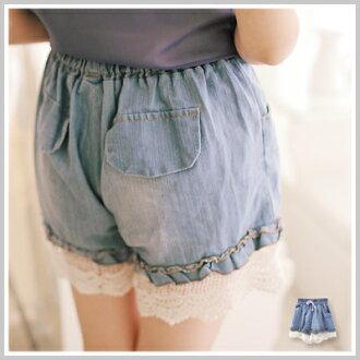 ☆雙兒網☆百變女孩 【P661】彈性腰間甜美荷葉蕾絲褲管牛仔短褲