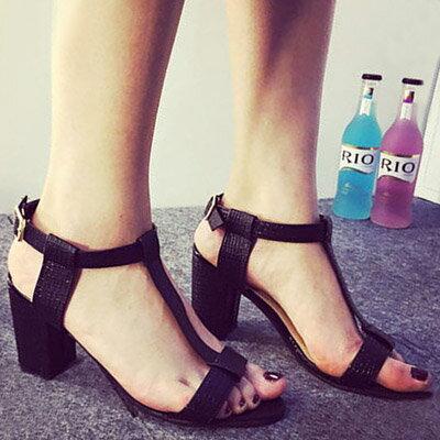 涼鞋 歐美時尚T字粗高跟涼鞋【S1033】☆雙兒網☆ 1