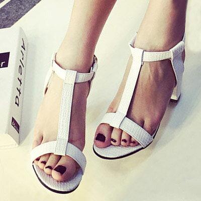 涼鞋 歐美時尚T字粗高跟涼鞋【S1033】☆雙兒網☆ 0