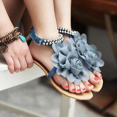 甜美花朵串珠夾腳涼鞋【S456】☆雙兒網☆ 0