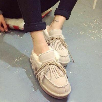 樂福鞋 韓版流蘇毛毛樂福鞋雪靴【S759】☆雙兒網☆ 1