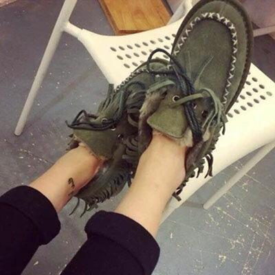 樂福鞋 韓版流蘇毛毛樂福鞋雪靴【S759】☆雙兒網☆ 0