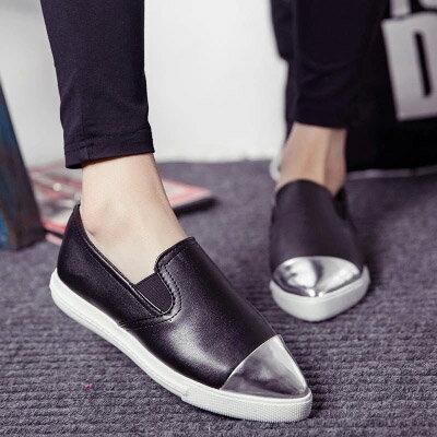 懶人鞋 韓版時尚金屬拼接尖頭休閒鞋樂福鞋【S818】☆雙兒網☆ 1